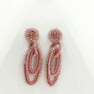 Boho Beaded Loopy Earrings in Pink